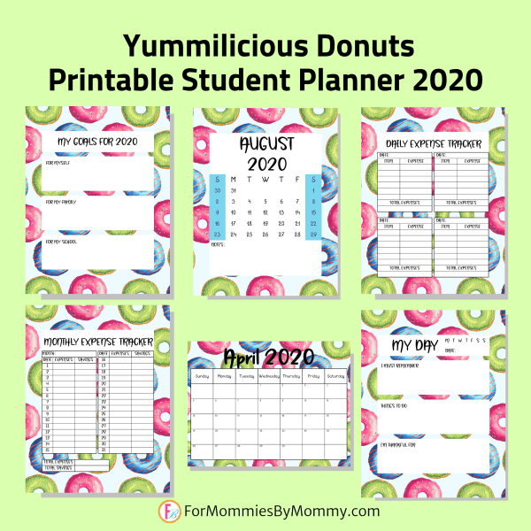 Printable student planner 2020