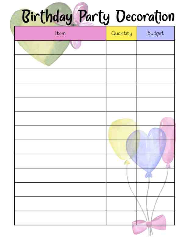 birthday party planner template