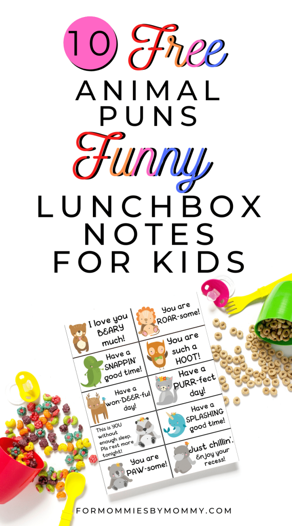 free 10 animal puns funny lunch box notes for kids