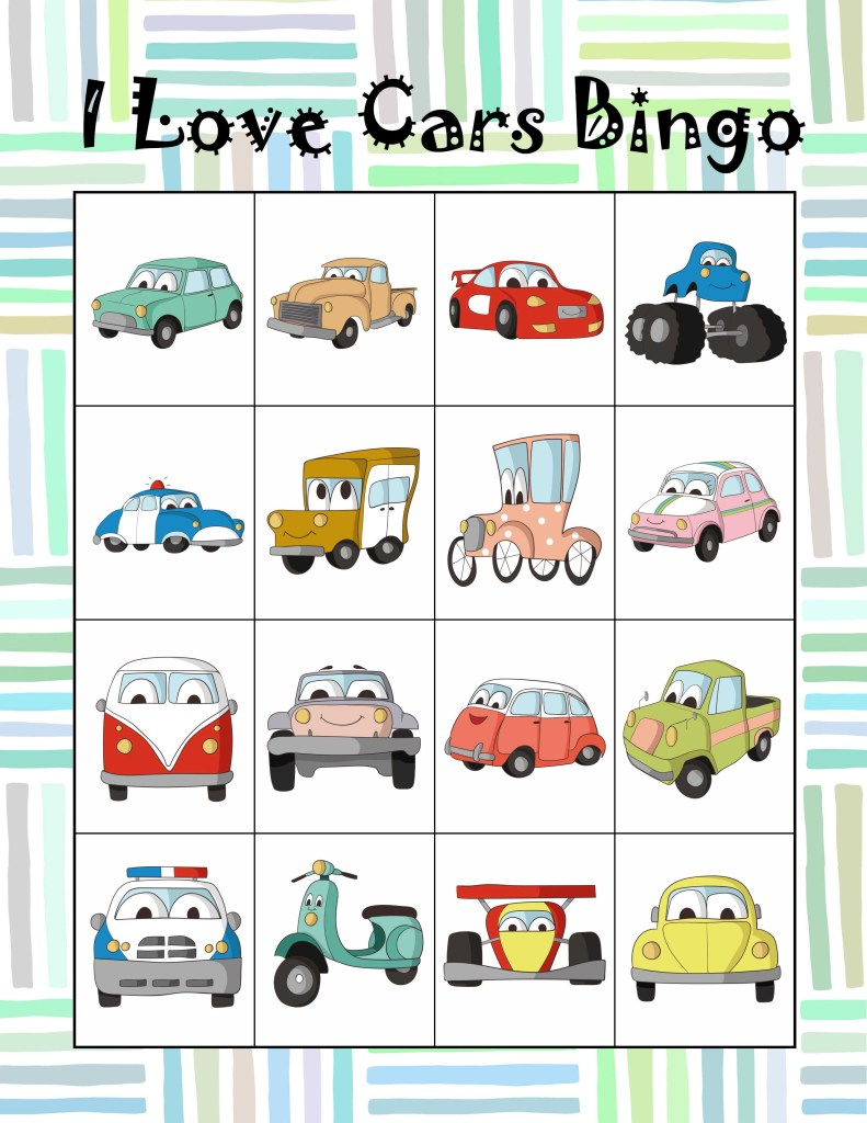 Free Printable I Love Cars Bingo Game For Kids