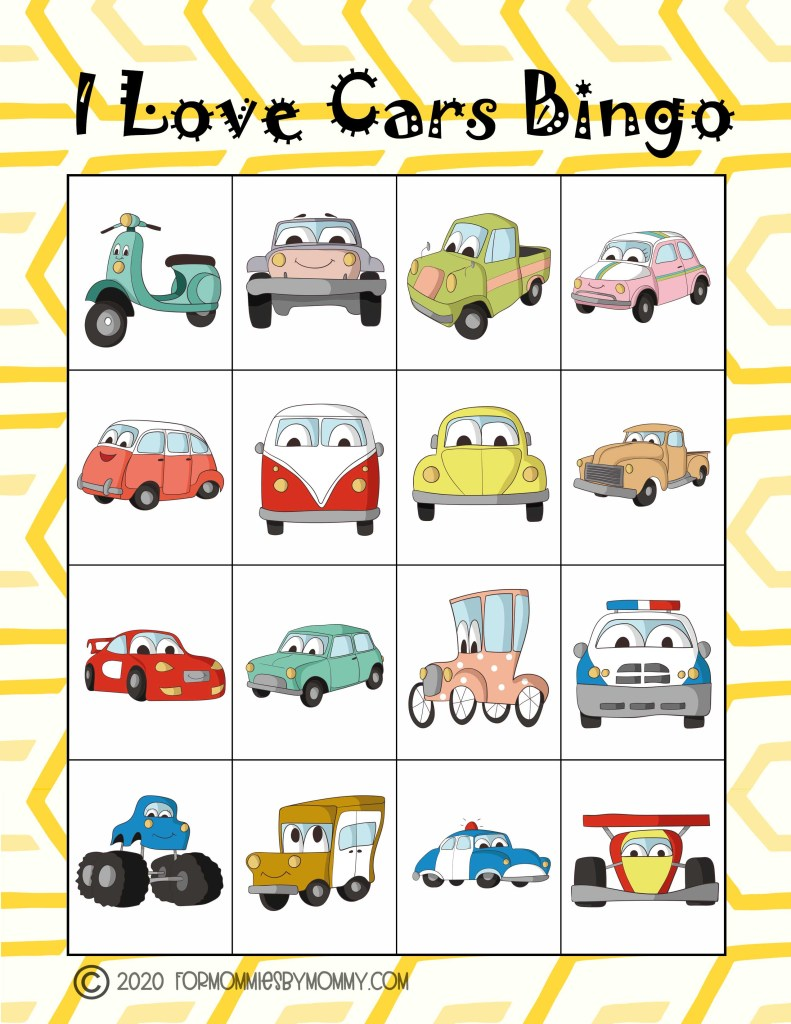Free Printable I Love Cars Bingo Game For Kids 3