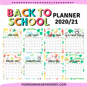 back to school planner 2021 jungle friends monthly planner 2021