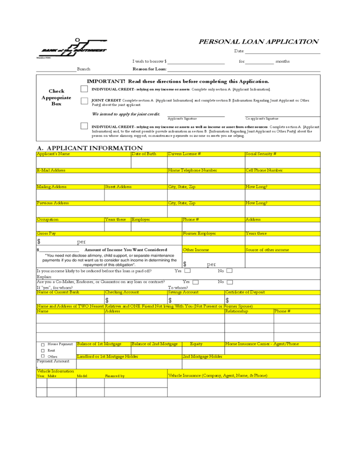 Personal Bank Loan Application Form Free Download