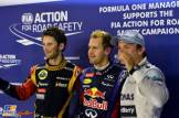 The Top Three Qualifiers : Third Place Romain Grosjean (Lotus F1 Team), Pole Position Sebastian Vettel (Red Bull Racing) and Second Place Nico Rosberg (Mercedes AMG F1 Team)