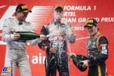 The Podium : Second Place Nico Rosberg (Mercedes AMG F1 Team), Race Winner Sebastian Vettel (Red Bull Racing) and Third Place Romain Grosjean (Lotus F1 Team)
