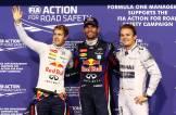 Sebastian Vettel (Red Bull Racing), Mark Webber (Red Bull Racing) and Nico Rosberg (Mercedes AMG F1 Team)
