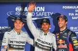 The Top Three Qualifiers : Third Place Nico Rosberg, Pole Position Lewis Hamilton and Second Place Daniel Ricciardo