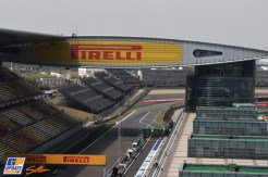 The Pit Exit, The First Corner and The Grand Stands for the Shanghai International Circuit
