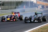 Daniel Ricciardo (Red Bull Racing, RB11) and Nico Rosberg (Mercedes AMG F1 Team, F1 W06 Hybrid)