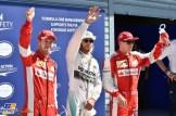 The Top Three Qualifiers : Third Place Sebastian Vettel (Scuderia Ferrari), Pole Position Lewis Hamilton (Mercedes AMG F1 Team) and Second Place Kimi Räikkönen (Scuderia Ferrari)