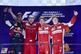 The Podium : Second Place Daniel Ricciardo (Red Bull Racing), Race Winner Sebastian Vettel (Scuderia Ferrari) and Third Place Kimi Räikkönen (Scuderia Ferrari)