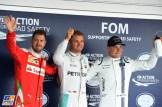 The Top Three Qualifiers : Second Place Sebastian Vettel (Scuderia Ferrari), Pole Position Nico Rosberg (Mercedes AMG F1 Team) and Third Place Valtteri Bottas (Williams F1 Team)