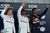 The Top Three Qualifiers : Second Place Nico Rosber (Mercedes AMG F1 Team), Pole Position Lewis Hamilton (Mercedes AMG F1 Team) and Third Place Daniel Ricciardo (Red Bull Racing)