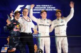 The Podium : Second Place Daniel Ricciardo (Red Bull Racing), Race Winner Nico Rosberg (Mercedes AMG F1 Team) and Third Place Lewis Hamilton (Mercedes AMG F1 Team)