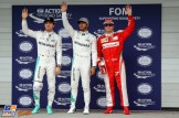 The Top Three Qualifiers : Second Place Nico Rosberg (Mercedes AMG F1 Team), Pole Position Lewis Hamilton (Mercedes AMG F1 Team) and Third Place Kimi Räikkönen (Scuderia Ferrari)