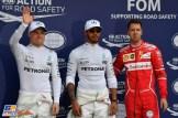 The Top Three Qualifiers : Third Place Valtteri Bottas (Mercedes AMG F1 Team), Pole Position Lewis Hamilton (Mercedes AMG F1 Team) and Second Place Sebastian Vettel (Scuderia Ferrari)