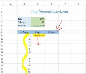 calcular intereses en excel - funcion pagoint 1
