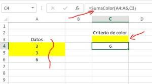 suma en excel según color de celda - ejemplo
