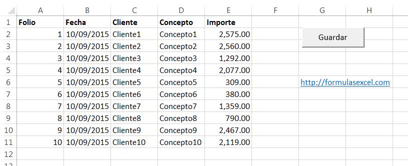 Crear macros en excel - hoja de registros