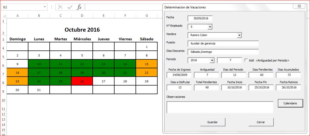 Vacaciones de Empleados en Excel ( VacacionesFX 3.0 )