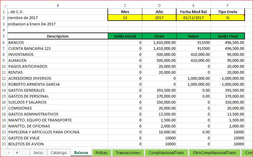 Contabilidad Electrónica en Excel – Formulas Excel