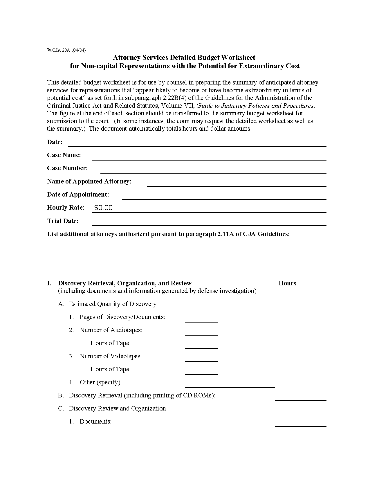 Form Cja A Attorney Services Detailed Budget Worksheet