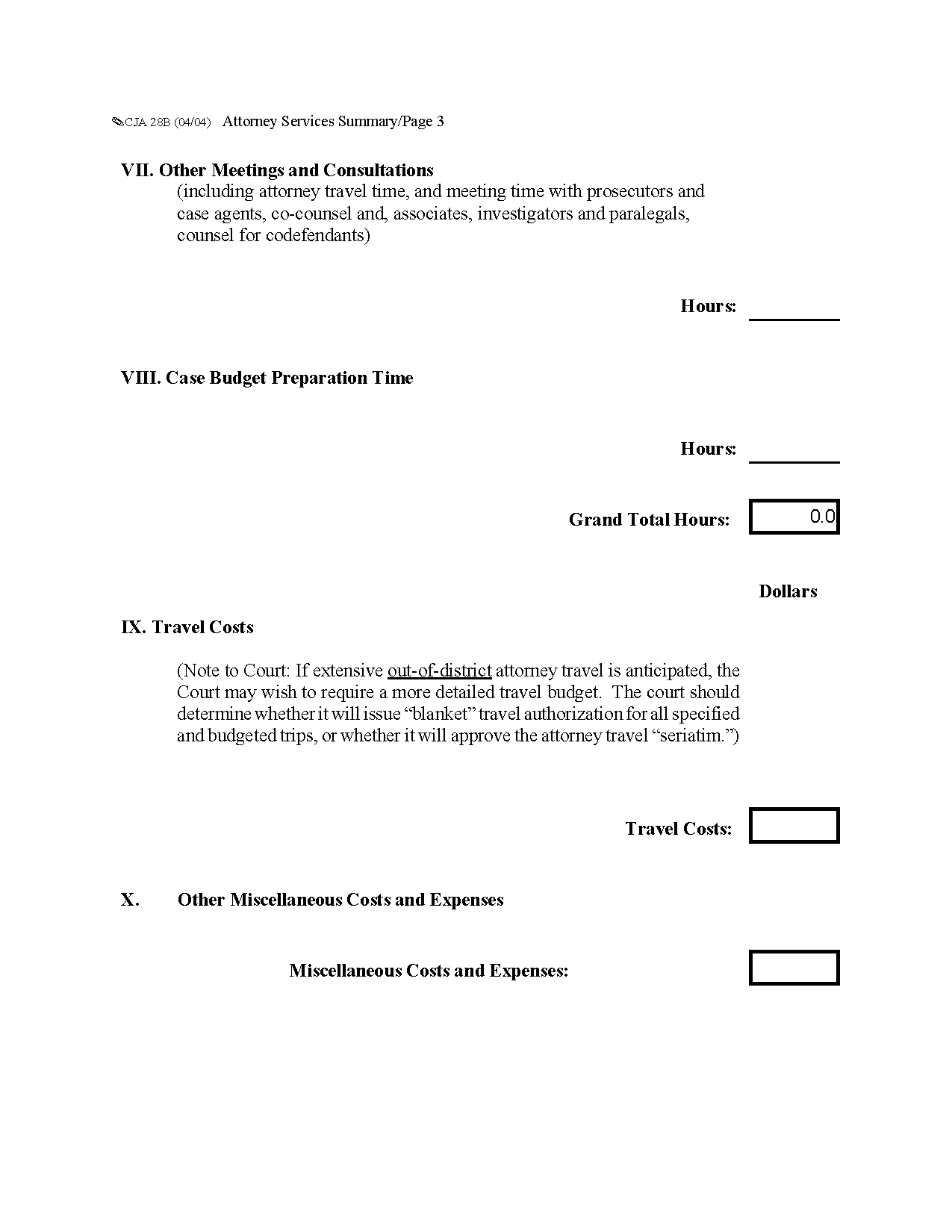 Form Cja B Attorney Services Summary Budget Worksheet