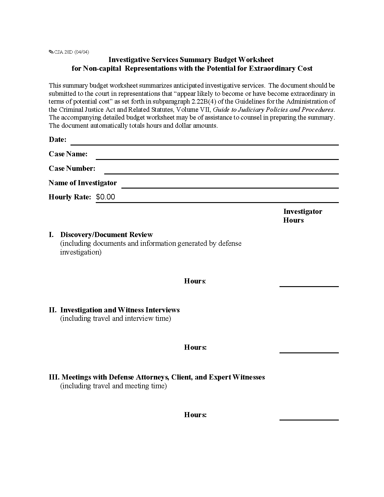 Form Cja D Investigative Services Summary Budget Worksheet For Non Capital Representations