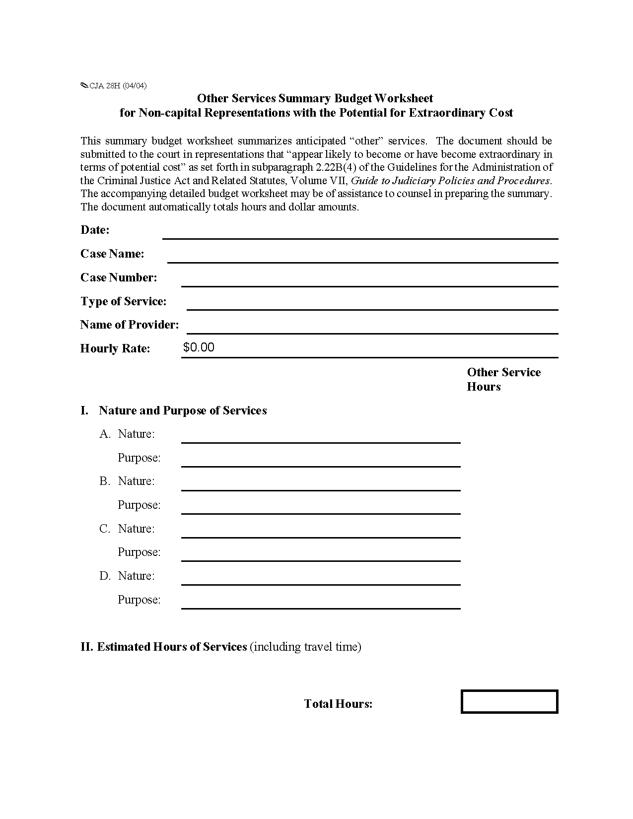 Form Cja H Other Services Summary Budget Worksheet For Non Capital Representations With The