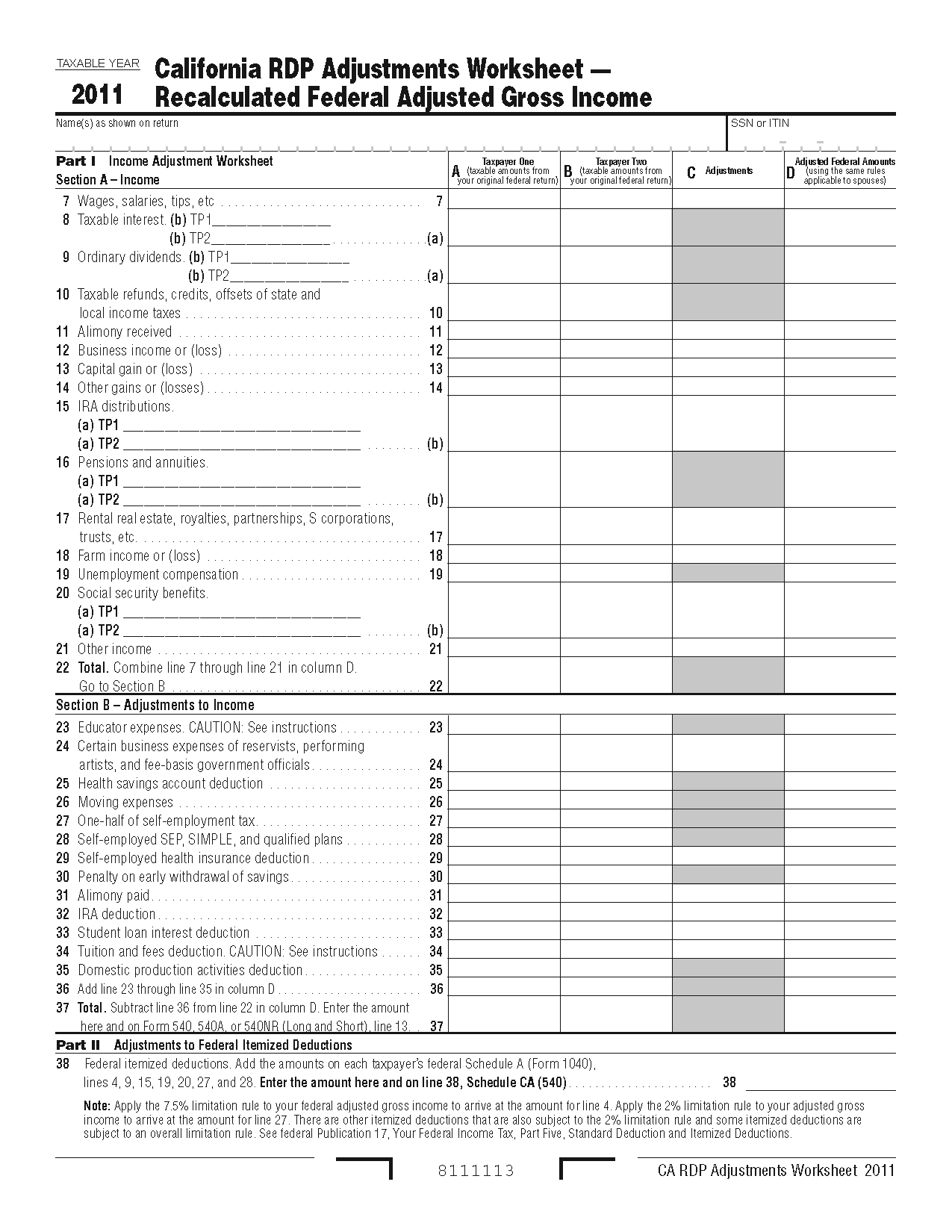 Federal Itemized Deductions Worksheet