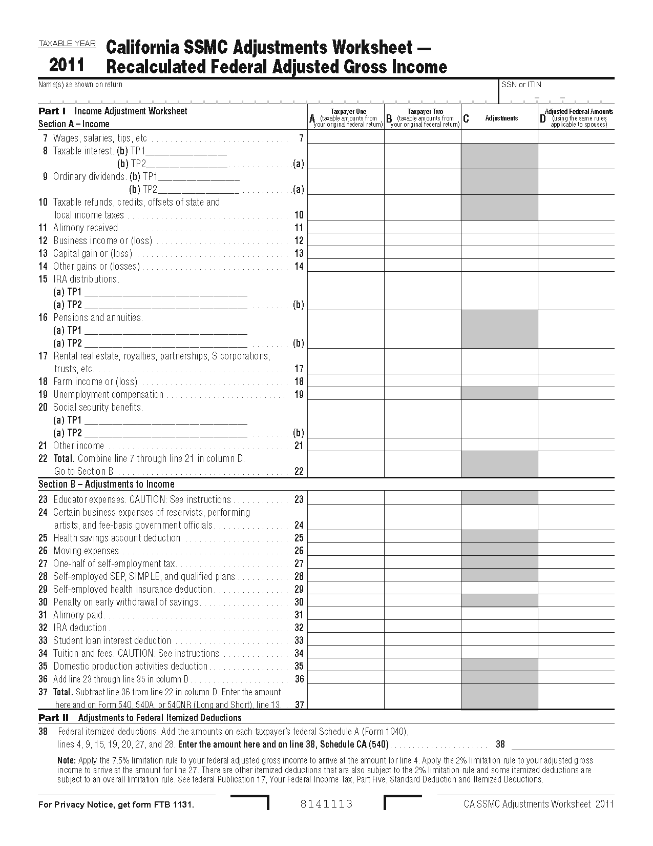 Itemized Deduction Limitation Worksheet