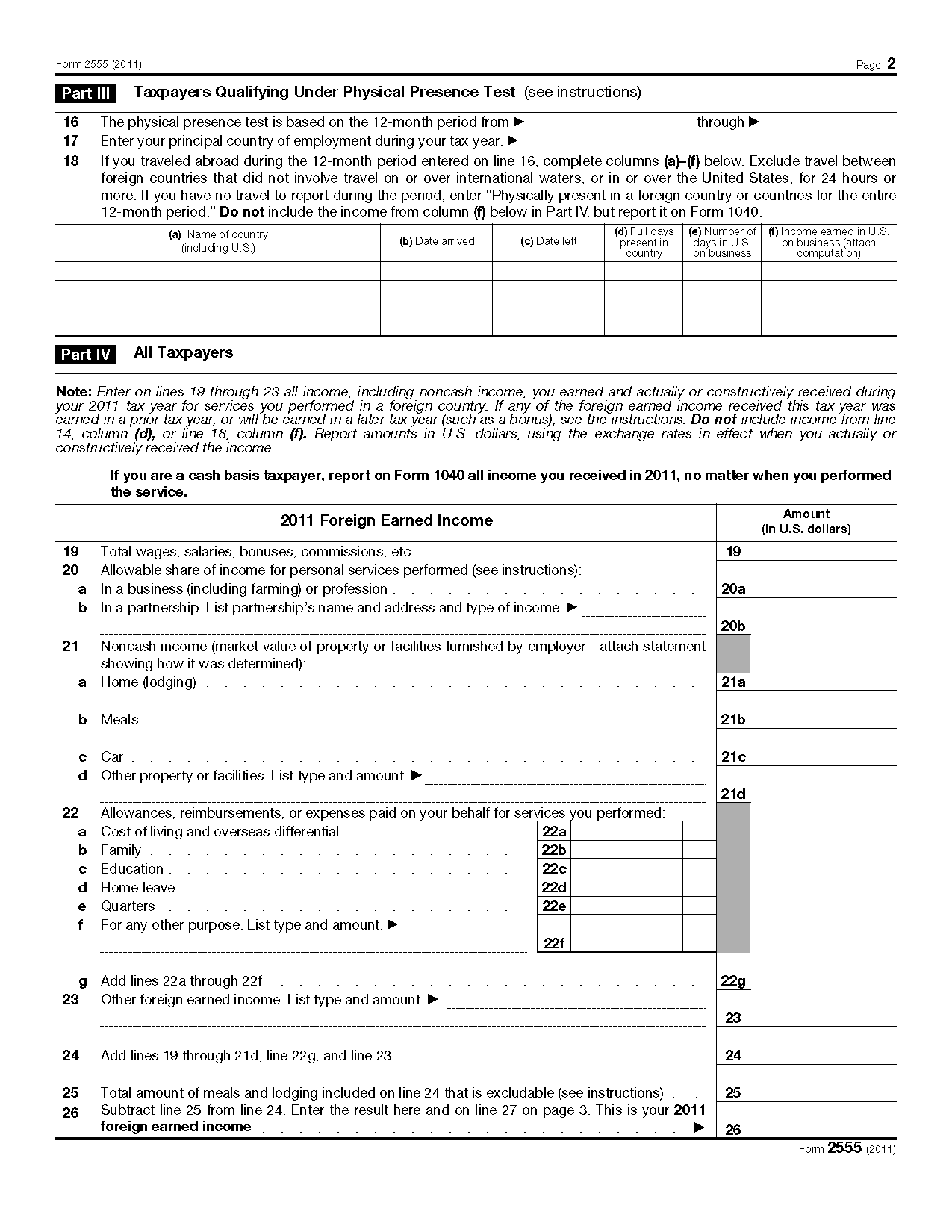 Foreign Earned Income Tax Worksheet Photos