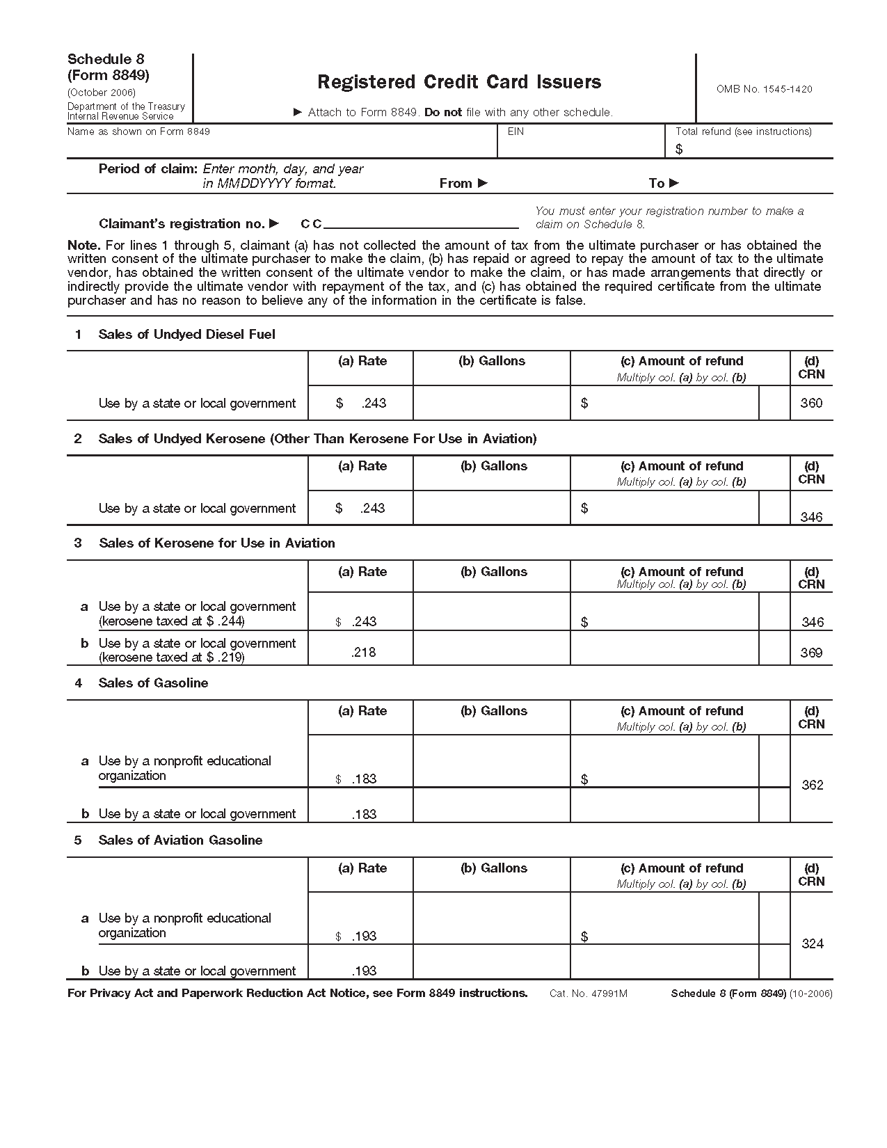 Form Schedule 8 Registered Credit Card Issuers