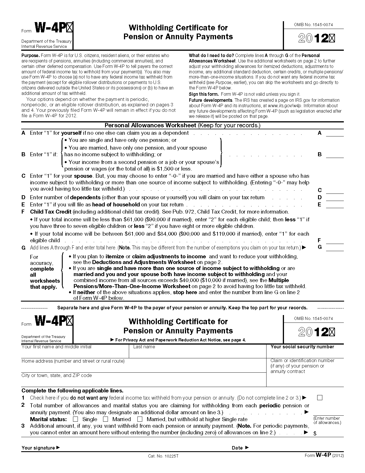 Form W 4p Withholding Certificate For Pension Or Annuity