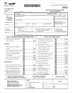 Form 765 Kentucky Partnership Income and LLET Return