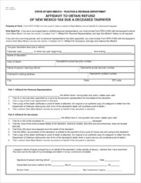 Form RPD-41083 Fillable Affidavit to Obtain Refund of New ...