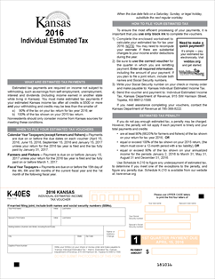 Form K-40ES Fillable 2016 Individual Estimated Income Tax