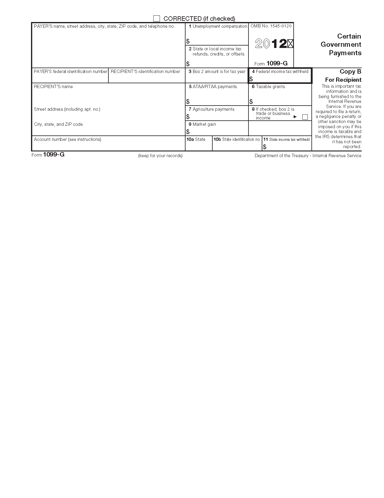 Form G Certain Government Payments Info Copy Only