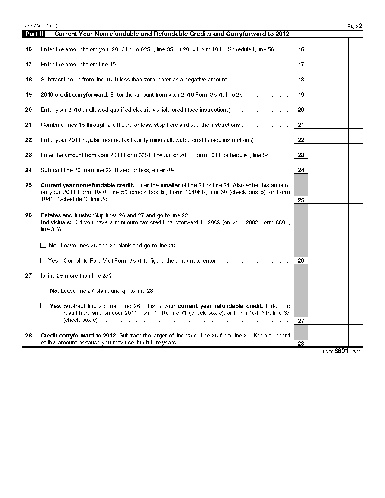 Form Credit For Prior Year Minimum Tax