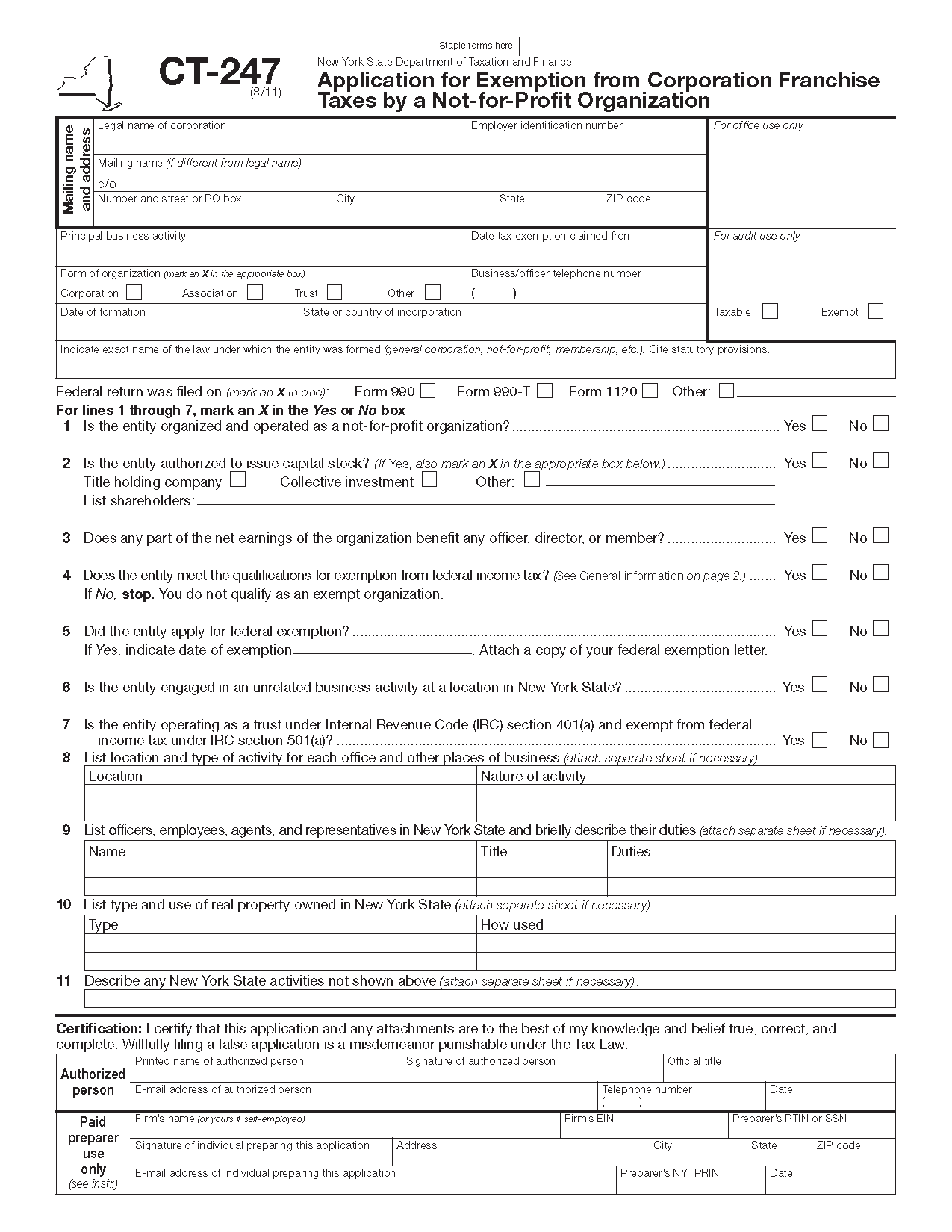 Form Ct 247 Application For Exemption From Corporation