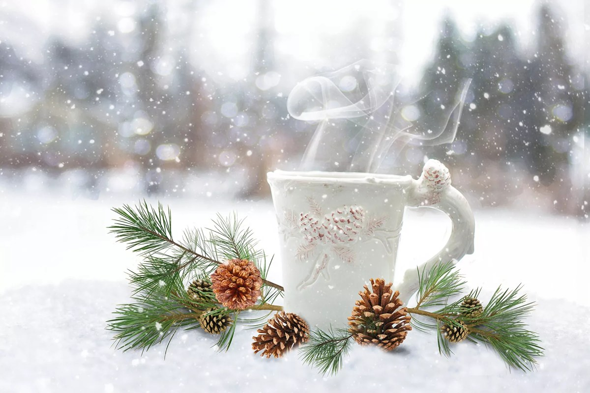 Cup with a warm drink with pine tree branches on a snowy background