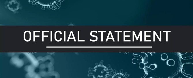 Official Statement is written in white text on a dark gray bar. The background is a teal image depicting coronavirus specimens.