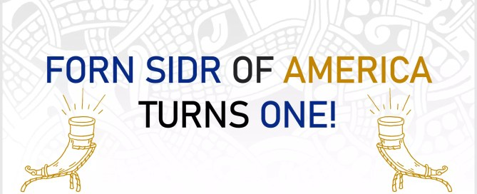 "Two golden drinking horns sit below text that reads, ""Forn Sidr of America Turns One!"" on a white background."