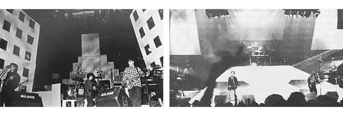 Soda Stereo. Izquierda: escenografía montada para la presentación de «Nada Personal». Derecha: escenario piramidal usado en la presentaciones del Gran Rex 91.