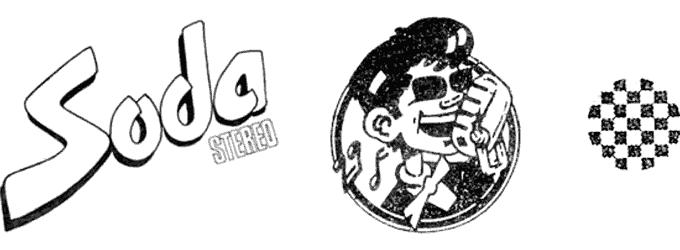 Soda Stereo. Primer logo oficial, mascota «Sodino» (utilizada durante la primera etapa de la banda) y trama que aparecía en el bombo de la batería y en una remera usada por Charly Alberti.