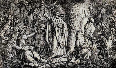 Saint Bonifacie is found preaching against the worship of esoteric tree.