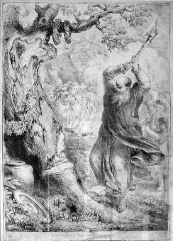 El cuadro de San Bonifacio destruyendo el árbol pagano sacrificial. ¿Dóne está el famoso abeto que según la Neo Iglesia sustituyó al primer árbol?.