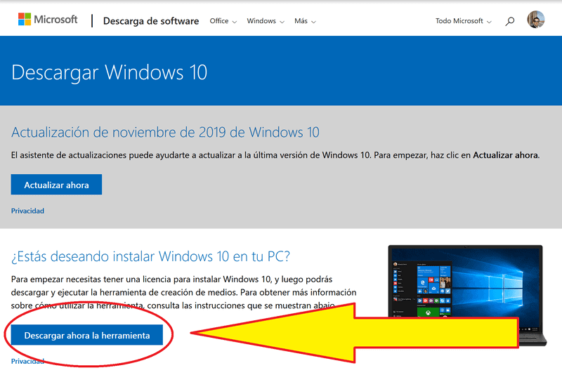 Descargar windows 10 e instalarlo en 3 pasos.