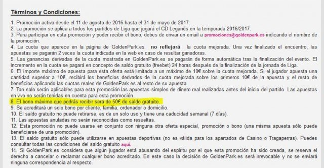 goldenpark timo fraude leganes cuota freebet foronaranja