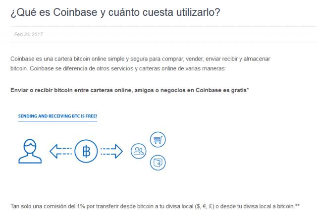 pagina de cambio de exchange bitcoin btc coinbase comision compra venta foronaranja